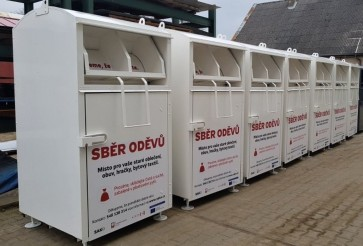 Containers for used clothing in Brno