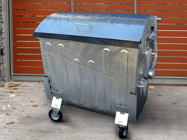Galvanized Container Cla 1100 With Dome Lid Elkoplast